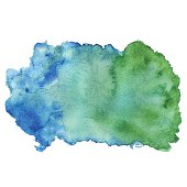 Watercolor abstract blue green colors paint stain with splash closeup isolated on a white background. Hand painting on paper