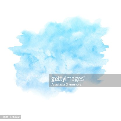Watercolor blue paint texture isolated on white background. Abst : stock vector