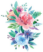 Watercolor bouquet vector clip art. Pink and blue floral illustration