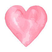 Watercolor brush heart. Pink aquarelle abstract background.