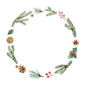 Watercolor Christmas frame with fir branches and place for text. Illustration for greeting cards and invitations.