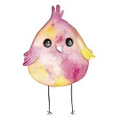 Watercolor colored little bird. Hand drawn illustration with cute animal.