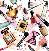 Water-colour cosmetics and perfumes collection - Vector illustration