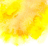 Vector background with watercolor splash. Yellow watercolour card