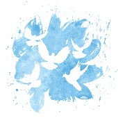 Watercolor Dove Logo pease sign symbol isolated on white