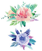 Watercolor floral bouquets vector clip art. Pink and purple flowers clipart