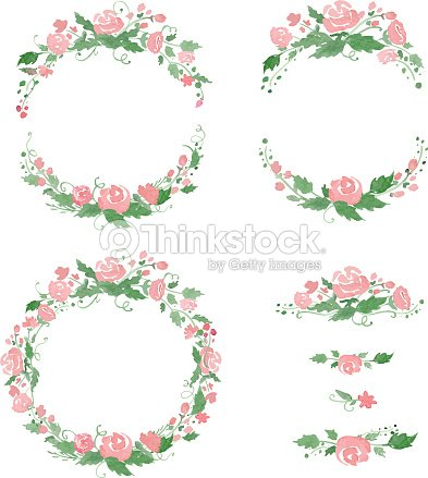 Watercolor Floral Frames Wreath Dividers Vector Illustration Vector ...