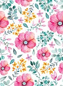 Watercolor floral seamless pattern with flowers and leafs. Colorful floral Vector illustration. Spring or summer hand made design for invitation,wedding or greeting cards, can be used for wallpapers.