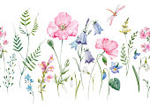 Beautiful seamless vector pattern with hand drawn watercolor flowers