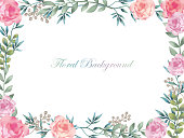 Watercolor flower frame/background with text space, vector illustration.