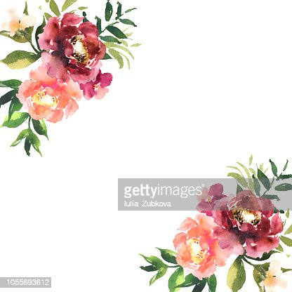 Watercolor flowers in frame, hand drawn for print, cards design. Modern pattern with colorful roses with place for text. Vector : stock vector