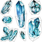Watercolor Geometric Gems collection. Semi Precious crystals in polygonal frames. Hand drawn illustration in Trendy hipster retro style isolated on white background