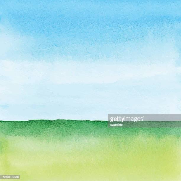 Aquarell grüne Landschaft