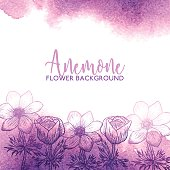 Watercolor greeting card with anemone, floral invitation, flower card. Flower background, design for mothers day, womens day, wedding, save the date, card, holiday, summer design vector flower