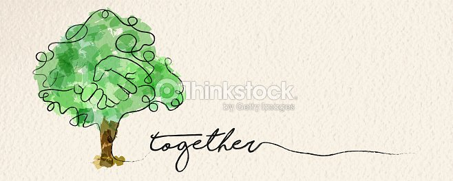 Watercolor hand tree web banner concept : stock vector