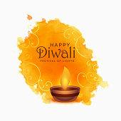 watercolor happy diwali festival background