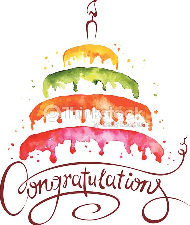 Watercolor Cake Clip Art : Watercolor Illustration Cake And Congratulations Vector ...