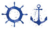 Watercolor illustration of an anchor and a steering wheel