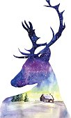 Hand drawn watercolor illustration with a silhouette of Christmas deer with beautiful winter night landscape with countryside house, trees and sparkling snowlakes. Bright card, poster and print design