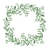Watercolor olive wreath. Isolated vector illustration on white background. Organic and natural concept.