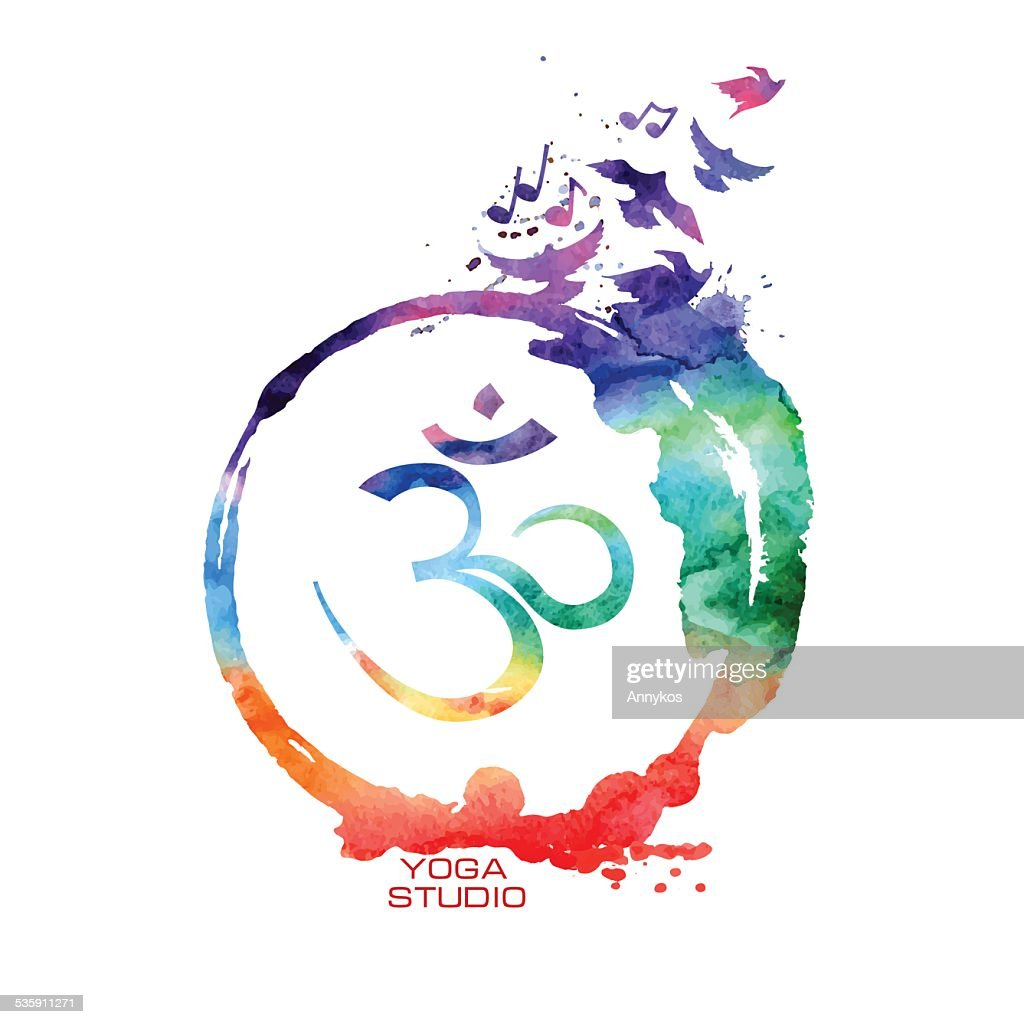 Watercolor Om sign label : Vector Art