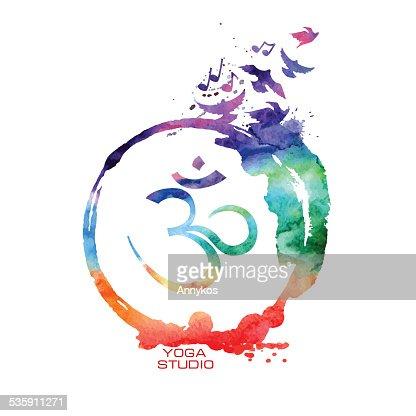 Símbolo Om de Aguarela : Arte vetorial