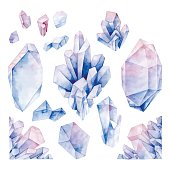 Hand drawn watercolor crystals in pastel colors isolated on white background