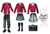 Back to school collection. Watercolor school uniform set isolated on white background. Female and male outfit in red color