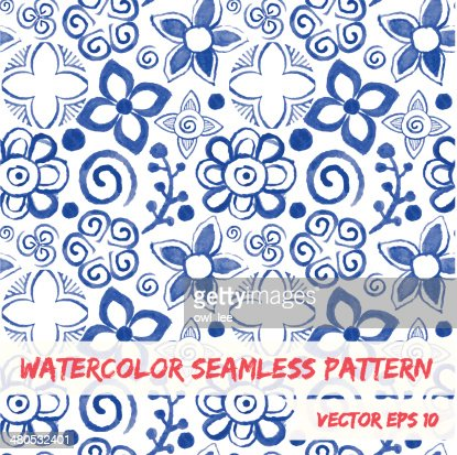 Watercolor seamless pattern. : Vector Art