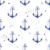 Watercolor seamless pattern with anchors