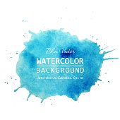 Watercolor splash banner design. Isolated Watercolor stain blue watercolor background. Watercolor texture background for text, web, banner, label, card, backdrop, tag, flyers