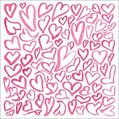 Hand drawn watercolor square pattern of hearts isolated on white background. A lot of different hand-drawn hearts. Watercolor collection of hearts. Set of doodle hearts