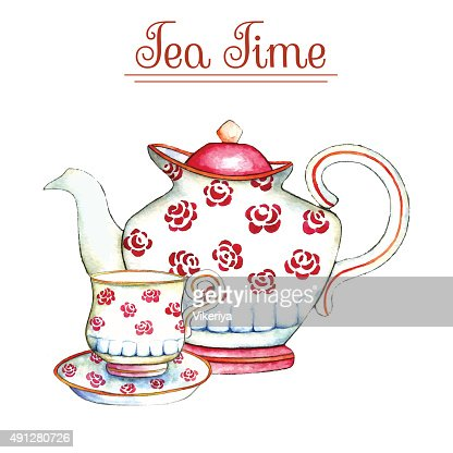 Watercolor Teapot And Cup Vector Art Thinkstock