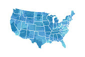 Watercolor USA map vector in blue painting color brush with borders of the states on white background illustration