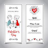 Watercolor Valentine Menu Card Template *