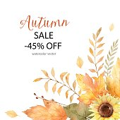 Watercolor vector card of leaves and branches isolated on white background. Autumn illustration for greeting cards, wedding invitations, quote and decorations.