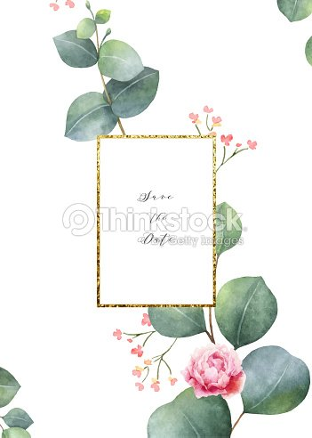 watercolor vector card template design with eucalyptus leaves and