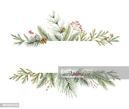 Watercolor vector Christmas banner with fir branches and place for text. : Vector Art