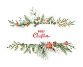 Watercolor vector Christmas banner with fir branches and place for text. Illustration for greeting cards and invitations isolated on white background.