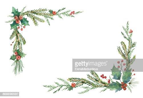 Aquarell Vektor Weihnachten Rahmen mit Tannenzweigen und Platz für Text. : Vektorgrafik