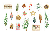 Watercolor vector Christmas set with fir branches, balls, gifts and gifts. Illustration for your holiday design isolated on a white background.