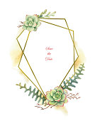 Watercolor vector composition of cacti and succulent plants and gold geometric frame isolated on white background. Flower illustration for your projects, greeting cards and invitations.