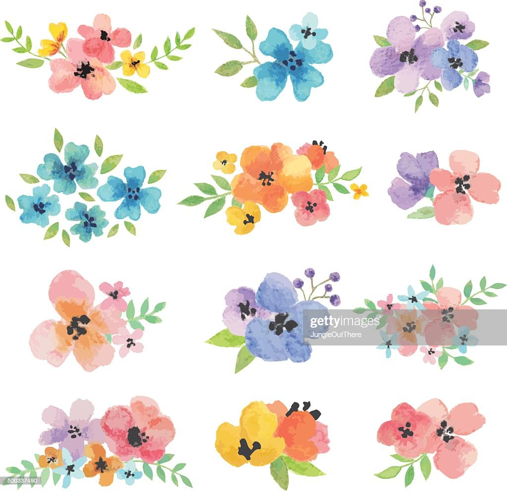 Watercolor Vector Flowers
