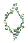 Watercolor vector frame with green eucalyptus leaves and branches. Spring or summer flowers for invitation, wedding or greeting cards.