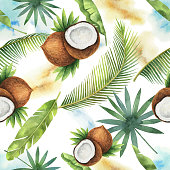 Watercolor vector seamless pattern of coconut and palm trees isolated on white background. Hand painted illustration for design kitchen, bio food, menu, healthy eating, textiles, market.