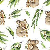 Watercolor vector seamless pattern with eucalyptus leaves and Koala isolated on white background. Cute illustration design children's books, zoo and textiles .