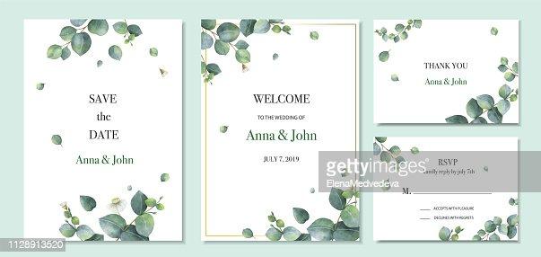 Watercolor vector set wedding invitation card template design with green eucalyptus leaves. : stock vector