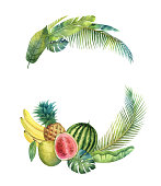 Watercolor vector wreath tropical leaves and fruits isolated on white background. Illustration for design wedding invitations, greeting cards, postcards with space for your text.