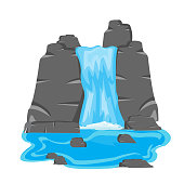 Vector illustration of the waterfall on white background is insulated