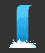 Waterfall isolated. Natural Pure Water. Rivers and Water falls. Vector illustration